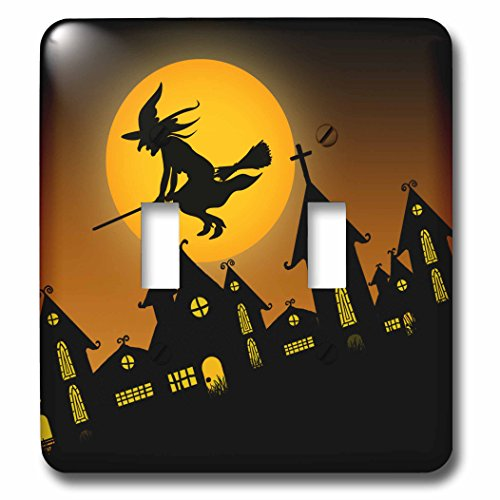 3dRose lsp_172236_2 Spooky Halloween town with flying witch - Double Toggle Switch -