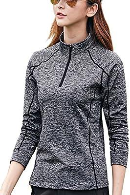 ReachMe Womens Half Zip Running Top Thermal Fleece Dry Fit Pullover Sweatshirt