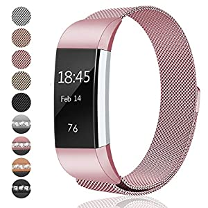 Fitbit Charge 2 Bands Small & Large for Women Men Girls, hooroor Milanese Loop Stainless Steel Metal Bracelet Strap with Unique Magnet Lock, No Buckle Needed for Fitbit Charge 2 (Rose Pink, Large)