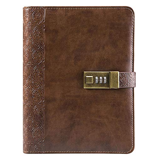 Locking Journal for Adults Journal with Lock Large Binder Notebook 6 Rings Refillable,Combination Passwords,Classic Embossed Leather,Brown