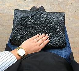 BMC Fashion Forward Dinosaur Eggshell Faux Leather Envelope Style Studded Square Circle Fashion Clutch