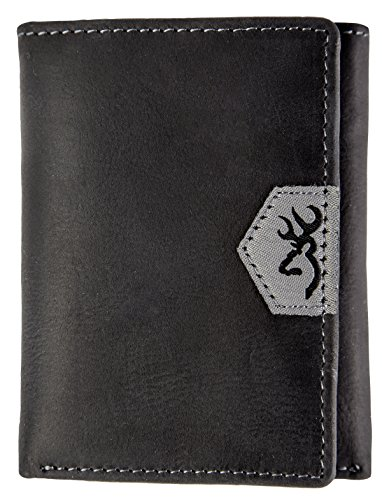 Browning Buckmark Men's Leather Tri-fold Wallet (Black Textured Full-Grain Leather Exterior, Lined 100% Cotton Denim Interior,  Closed size: 4.25