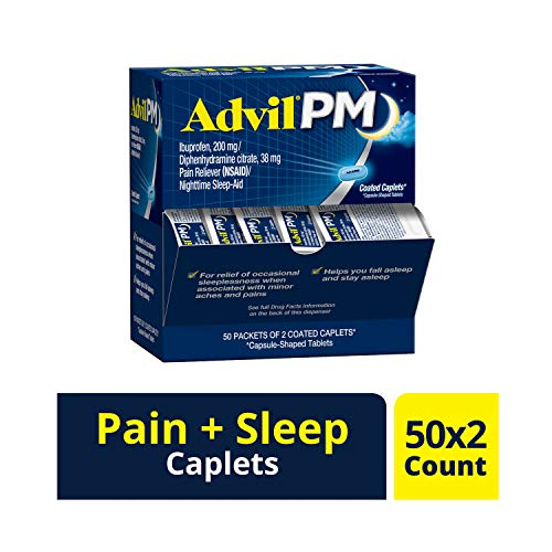 Advil PM (50 x 2 Packets - 100 Count) Pain Reliever / Nighttime Sleep Aid Coated Caplet, 200mg Ibuprofen, 38mg Diphenhydramine (Best Otc For Sleep)