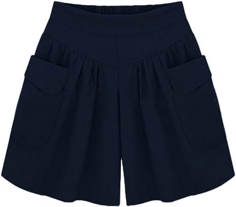 Women/'s Summer Printed Wide High Waist Loose Shorts Elastic Waistband Hot Pants