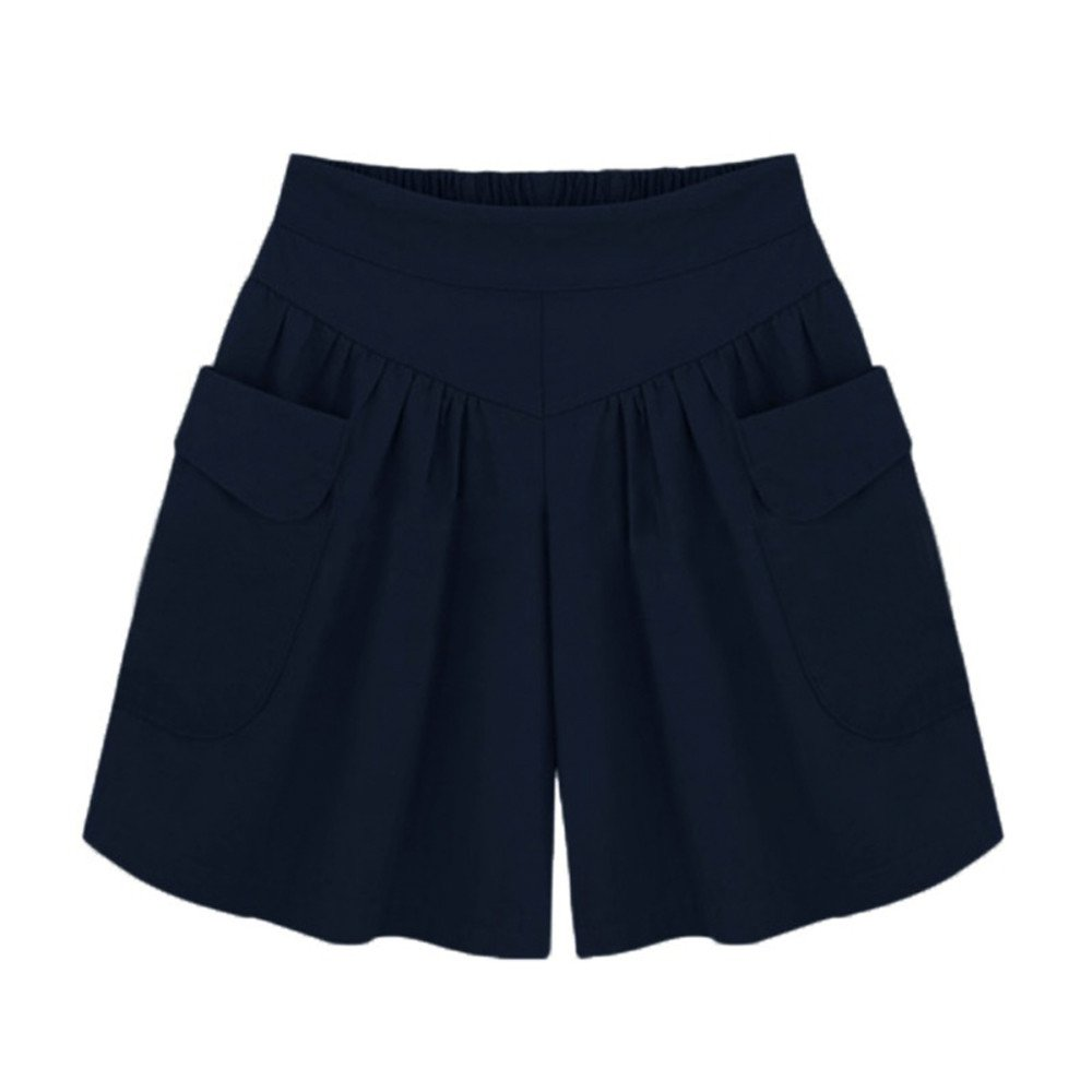 Womens Shorts, Libermall Women's Casual Plus Size Solid Loose Hot Pants Pockets Trousers Short Pants Navy