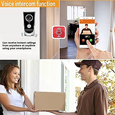 FAFA Smart Wireless Doorbell Video Viewer Camera Wi-Fi Enabled Night Vision Intercom Door Viewer for Home Security Monitoring Motion Detection