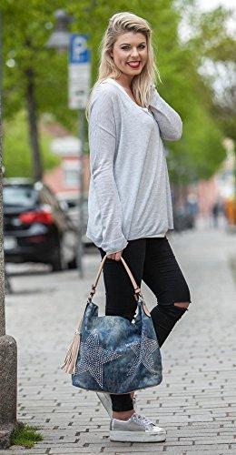 styleBREAKER Borsa di Jeans con stelle e applicazioni di strass in un aspetto vintage, borsa a tracolla, donna 02012035, colore:Grigio scuro-Nero