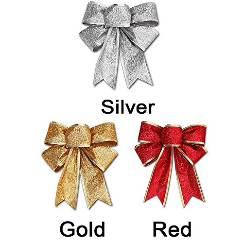 CHDHALTD 10 Pack Christmas Bow for Santa Decorations, Gifts & Presents Wrapping, Hanging Door Decor with Wire, Christmas Tree, Party Supply (Silver) by CHDHALTD (Image #4)