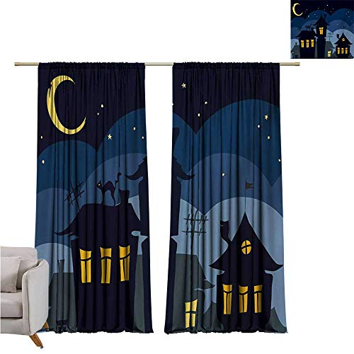 RenteriaDecor Halloween,Blackout Curtains Old Town with Cat on The Roof Night Sky Moon and Stars Houses Cartoon Art W96 x L96 Print Curtain ()