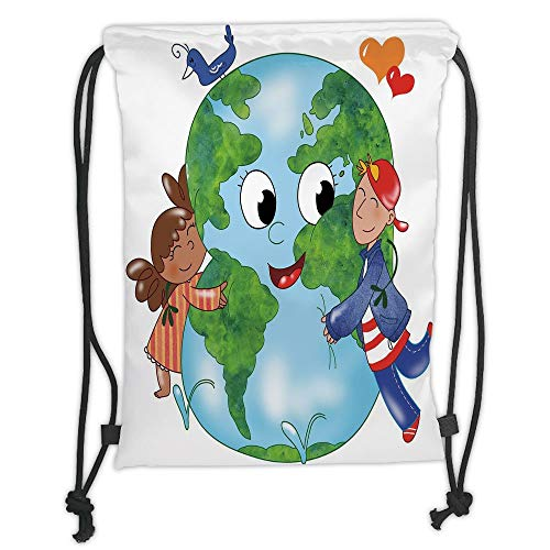 - Earth,Two Cute Kids Hugging Happy Planet Earth Bird and Hearts Embracing in Cartoon Style Decorative,Multicolor Soft Satin,5 Liter Capacity,Adjustable Str