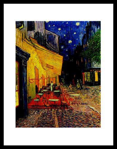buyartforless IF VG P Cafe 11x14 Glass Framed Vincent Van Gogh Pavement Cafe Art Print Poster - 16X12 with Solid Black Wood Frame The Cafe Terrace On The Place Du Forum, Arles Gallery Bestseller