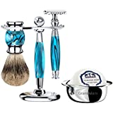 Grandslam Luxury Shaving Kit Set Safety Razor+20 Blades or Mach Fusion 5/Finest Badger Brush/Bowl/Shaving Soap and Stand Great Gift Idea for Father Husband or Boyfriend (Safety Razor, Blue)