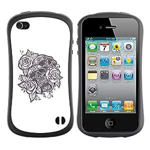 Suave TPU GEL Carcasa Funda Silicona Blando Estuche Caso de protección (para) Apple Iphone 4 / 4S / CECELL Phone case / / Tattoo Ink Skull Black White Rose Love /