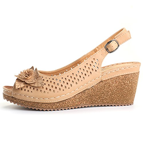 Image of Alexis Leroy Adjustable Buckle Peep Toe Vamp Women's Platform Wedge Sandals