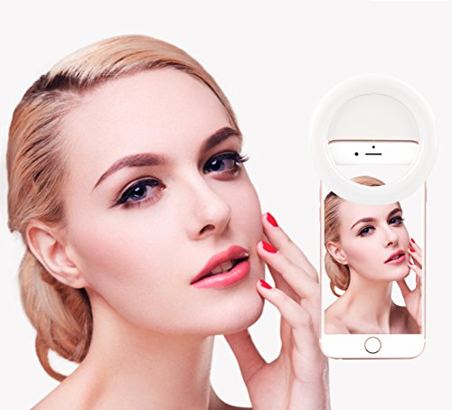 Selfie Ring Light iphone Rechargeable - Clip LED Camera Light Adjustable - 36 LED Selfie Makeup for Phone, iPad, Smart Phone and Tablet , White by RK-14