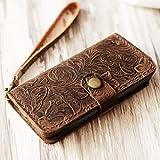 Genuine Italian Leather Wallet Case for Iphone 8 plus/iPhone 7 plus(5.5 inch)flip Case Handmade Luxury Retro classic cover slim Wristlet Tooled Flower Brown