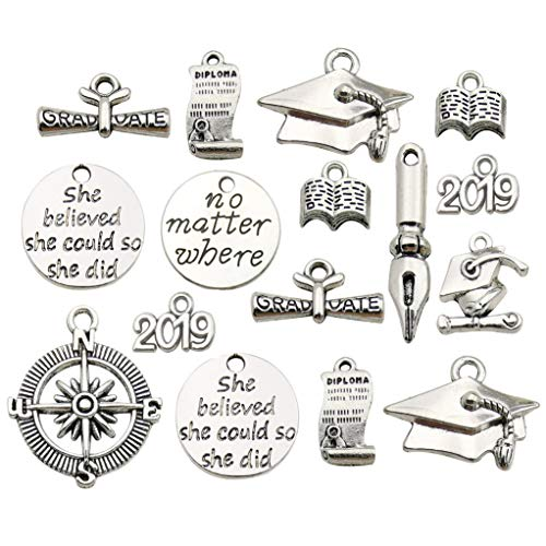 Youdiyla 50 Graduation Charm Collection, Bulk Class of 2019 Graduate Hat Cap School Compass Book Pen Charms Metal Pendant Craft Supplies Findings for Necklace and Bracelet Jewelry Making (HM306) - Necklace Book Piece