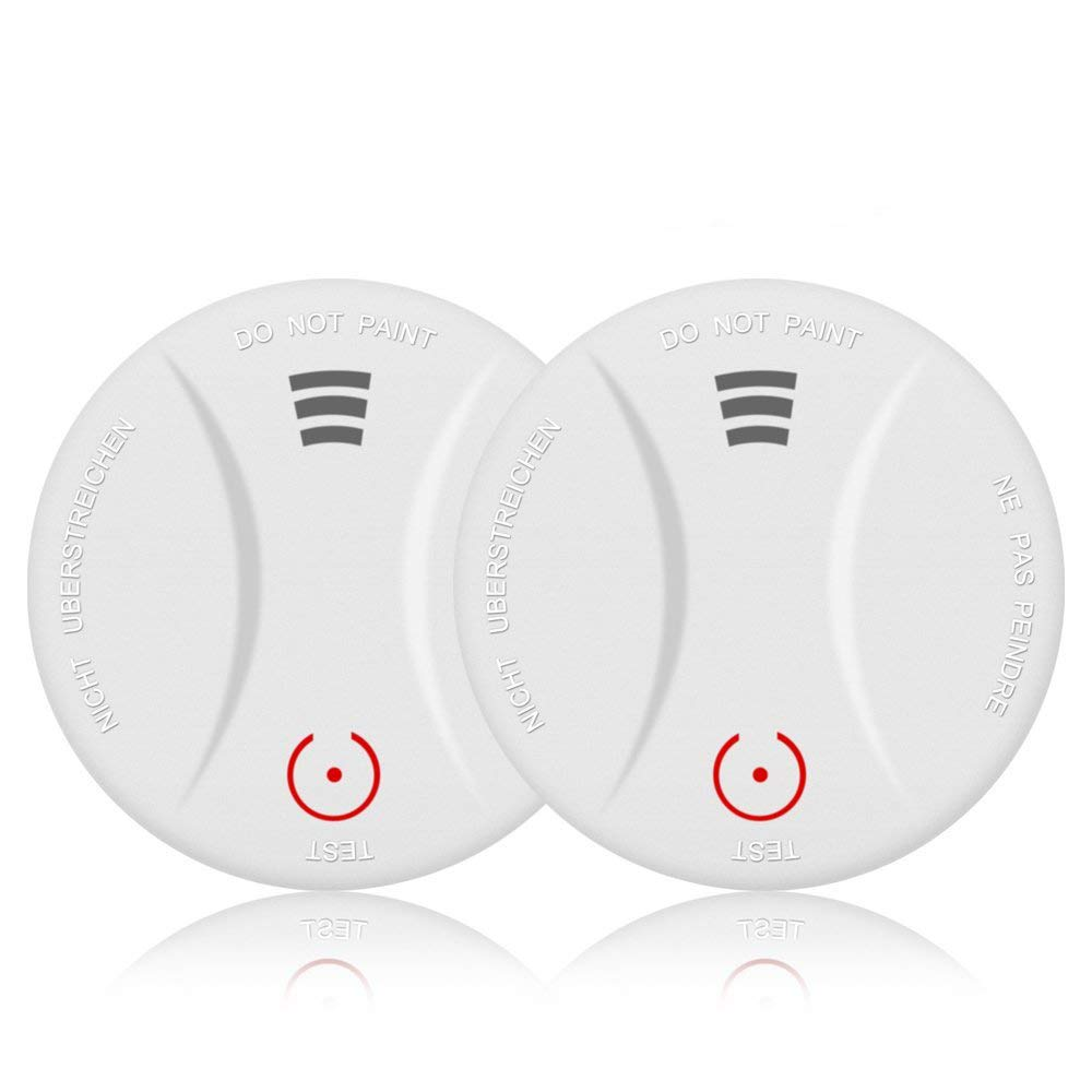 2 Pack 10 Year Battery Operated Smoke Detector Fire Alarm with Photoelectric Sensor,Easy to Install with Test Button