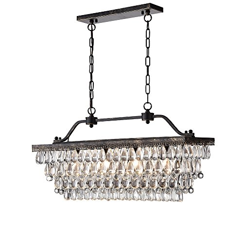 Warehouse of Tiffany Bronze 4-Light Pendant with Crystal Shade XRL8136ORB