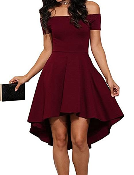 96254e54c1f5 OURS Sexy Women Off Shoulder Short Sleeve High Low Skater Dress at Amazon  Women s Clothing store