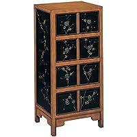 Stein World Furniture Niko Tall Chest, Black/Pine Floral