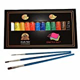 Acrylic paint 12 Set by Crafts 4 All For Paper,canvas,wood,ceramic,fabric & crafts.Non toxic & Vibrant colors.Rich Pigments With Lasting Quality - For Beginners, Students & Professionals artist