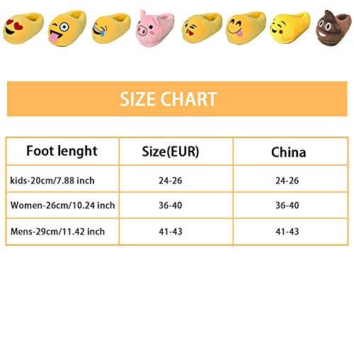 Pantofole Morbide Al Coperto, Kyson Donna Uomo Bambini Inverno Pantofole Calde Scarpe Da Casa Emoji Cartoon Peluche Pantofola 12