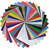 Qbc Craft 12x12 Permanent Adhesive Crafting Vinyl Sheets (36 Pack) Assortment Multi Color with Transfer Paper for Cricut Expression Explore Silhouette Cameo make Adhesive Backed Decals Stickers Signs