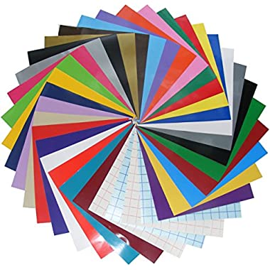 Qbc Craft 36 Pack 12x12 Permanent Adhesive Vinyl Sheets Assortment Multi Color with Transfer Paper Tape For Cricut Expression Explore Silhouette Cameo, make Adhesive Backed Decals Stickers Signs
