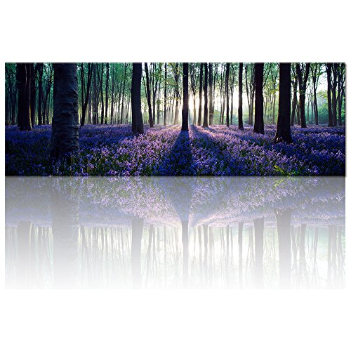 Visual Art Decor Framed Large Purple Canvas Wall Art Mild Sunshine Lavender Forest Landscape Tree Wall Art Picture Prints Gallery Wrap Home Living Room Decoration (20