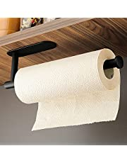 KEGII Paper Towel Holder, Toilet Paper Roll Holder Under Cabinet, Black Self Adhesive Stainless Steel Wall Mount No Drilling Paper Towel Rack for Kitchen, Bathroom, Fit Most Roll Sizes (Black)