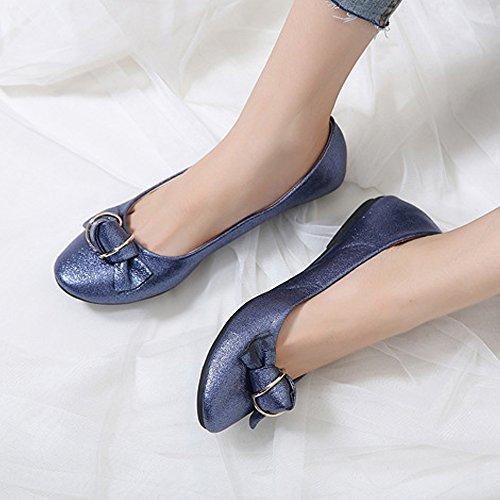 Ochenta Femme Confort Slip Sur La Mode Arcs Ballerines Robe Chaussures Bleu