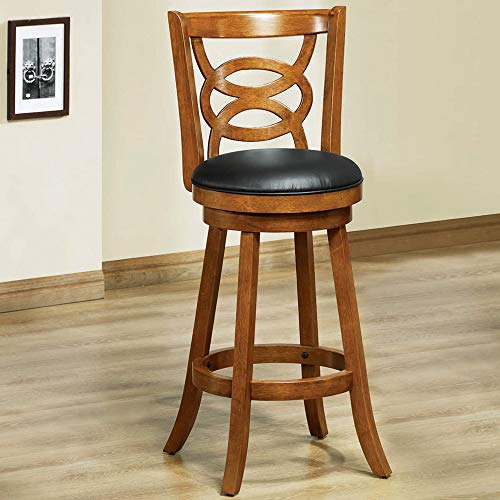Monarch Specialties I I 1251 Solid Wood High Swivel Barstool, Set of 2, 42 , Oak