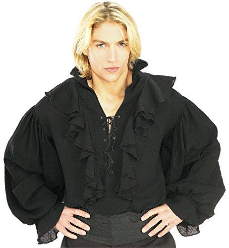 (Rubie's Pirates of the Seven Seas Black Linen Pirate Shirt - Adult Standard Costume)