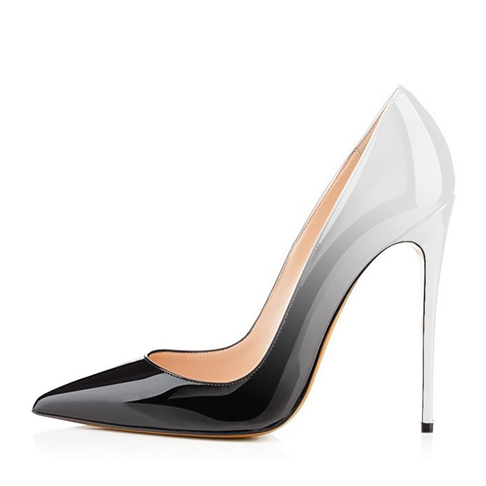 Modemoven Women's Pointy Toe High Heels Size Slip On Stilettos Large Size Heels Wedding Party Evening Pumps Shoes B0722LHHPH 15 B(M) US|Silver Black 531791