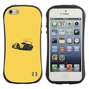 Paccase / Suave TPU GEL Caso Carcasa de Protección Funda para - Sports Car Racing Yellow - Apple Iphone 5 / 5S