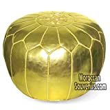 Stuffed Moroccan Pouf, Pouffe, Ottoman, Poof, Color : Gold