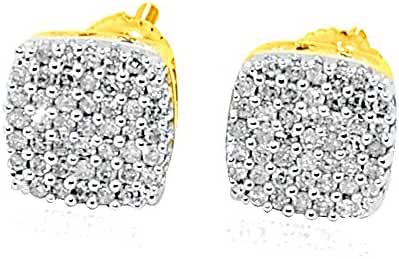 Diamond Stud Earrings 10K Gold 7mm Wide Screw Back Cluster Fashion Earrings (i2/i3, i/j, 1/5cttw)