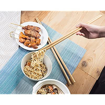 Cooking Chopsticks - 10-Pack Extra Long Cooking Chopsticks, For Cooking, Frying, Hot Pot, Noodles in Chinese and Japanese Style, Natural Bamboo, 16.5 Inches: Kitchen & Dining