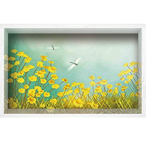 """iPrint 3D Depth Illusion White Wood Frame Style Home Decor Art, Vinyl Wall/Floor Decal Sticker,Landscape with Daisies on Grass and Dragonflies,35.4"""" x23.6"""