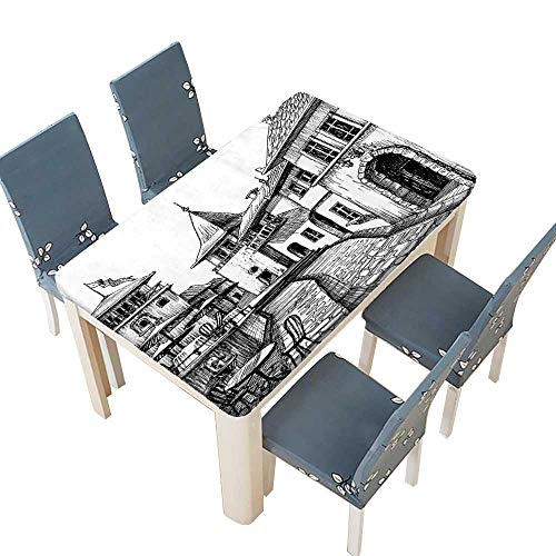 PINAFORE Indoor/Outdoor Spillproof Tablecloth Peaceful City Drawing Restaurant Terrace Sketch Downtown Scene Black White Wedding Restaurant Party Decoration W45 x L84.5 INCH (Elastic Edge) ()