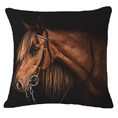 Pgojuni Creative Pillow Fashion Cartoon Animal Horse Home Pillowcase Cotton Linen Decoration Throw Pillow Cover Cushion Cover Square Pillow Case for Sofa/Couch Home Decor 1pc (B)