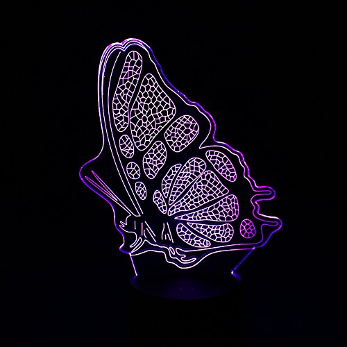 Circle Circle 3D Optical Illusion LED Visual Butterfly Desk Lamp 7 Colors Changing Night Light Touch Sensitive Switch Table Lighting for Kids Bedroom Decoration