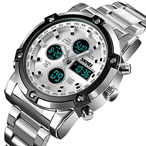 Stainless Steel Strap Outdoor Sport Watch Analog Digital LED Dual Time Display Mens Watch Sliver