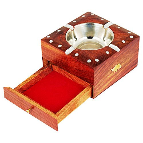 Handcrafted Cigarette Smoking Wooden Ashtray With Compartment For Home Living Room Office Patio Poker Coffee Tabletop For Cigarettes Unique Vintage Decorative Square Indoor Outdoor Ash Holder by The Great Indian Bazaar