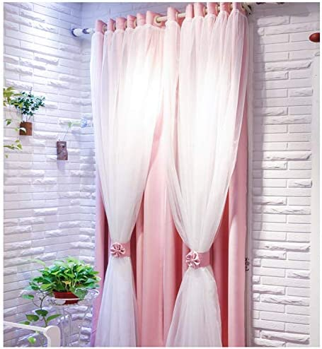 Vandesun Dual Layer Grommet Top Mix and Match Blackout Curtains with White Sheer for Living Room and Bedroom – 2 Panels 52X84L, Pink