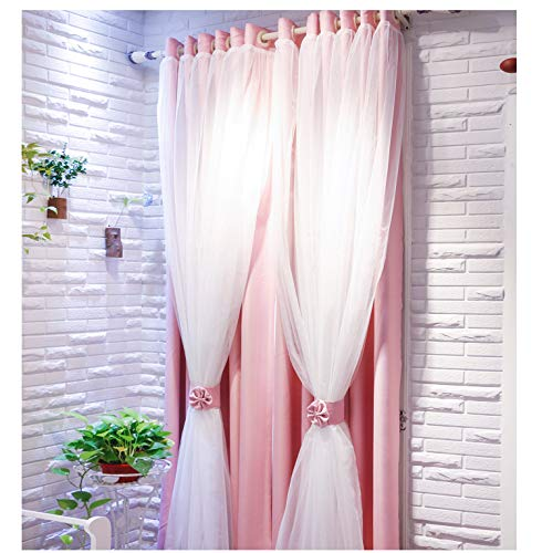 84l Panel (Vandesun Dual Layer Grommet Top Mix and Match Blackout Curtains with White Sheer for Living Room and Bedroom - 2 Panels (52X84L, Pink))