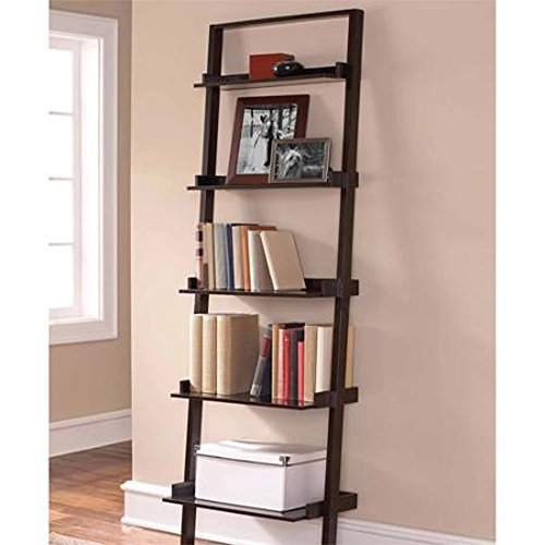 Leaning Ladder 5-shelf Bookcase, Espresso Contemporary Style Space-saving Tiered Design Shallow Shelves At the Top Deeper Shelves At the Bottom Easy Assembly Book Storage