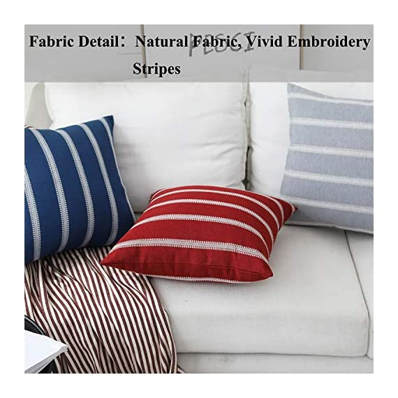 Home Brilliant Striped Farmhouse Decor Accent Decorative Throw Pillows Covers Cushion Covers for Outdoor Bench Couch Room, 2 Packs, 18 x 18 inches(45x45cm), Navy Blue - Material: Natural eco-friendly materials,this is your most suitable choice. This cushion cover could surely provide a warm, welcoming feeling to your daily life. Size: 18x18 inch/ 45x45cm(1-2cm deviation). Package contains 2 pieces of pillow cover, NO PILLOW INCLUDED. Design: All vivid embroidery pattern, concluded stripes and checkers design. Pattern available in both sides. Suitable for sofa, bed, home, office, living room, outdoor. - patio, outdoor-throw-pillows, outdoor-decor - 51bPy6iNMqL. SS570  -