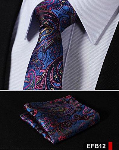 EFB12 EFB Paisley Floral 2.75 100/%Silk Woven Slim Skinny Narrow Men Tie Necktie Handkerchief Pocket Square Suit Set